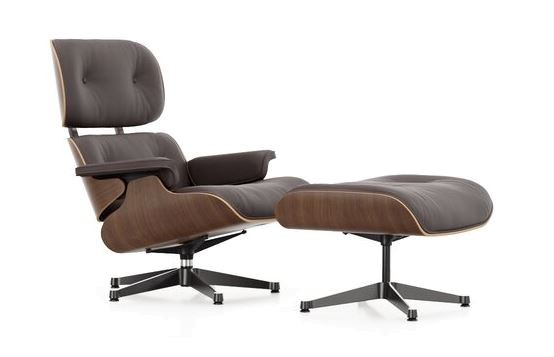 Vitra Sessel Eames Lounge Chair + Ottoman Leder Premium Chocolate