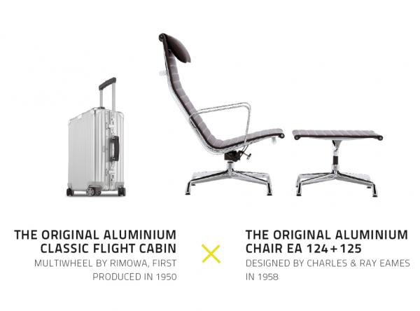 Vitra Sessel Aluminium Chair EA 124 + EA 125 x Rimowa Case