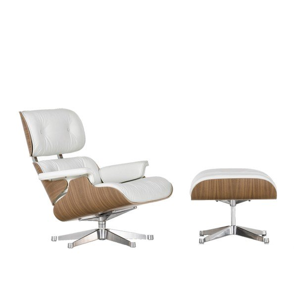Vitra Sessel Eames Lounge Chair + Ottoman white Aktion UPGRADE