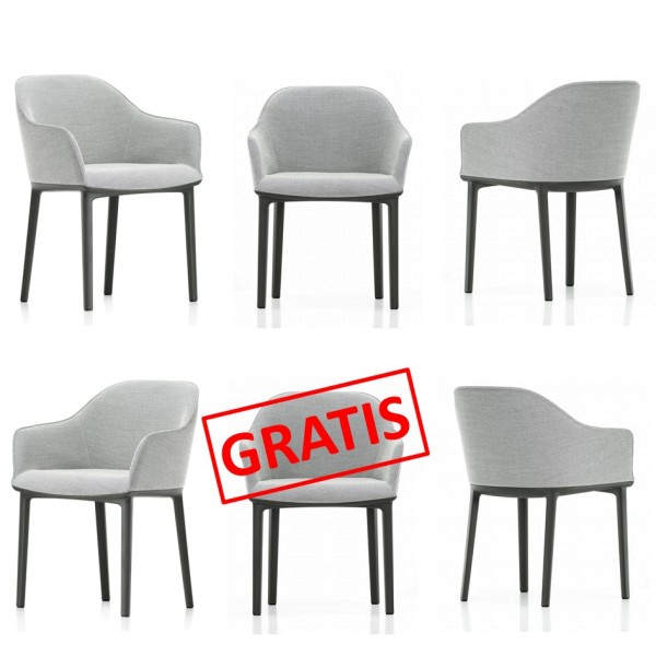 Vitra Stuhl Softshell Chair 4-Bein grau 5+1 AKTION