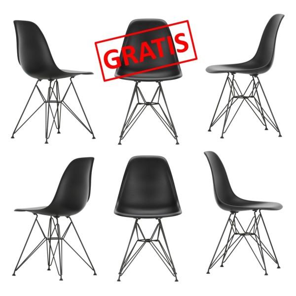 Vitra Stuhl Eames Plastic Sidechair DSR 5+1 AKTION Pure Black